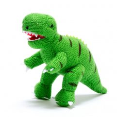 Knitted T-Rex rattle