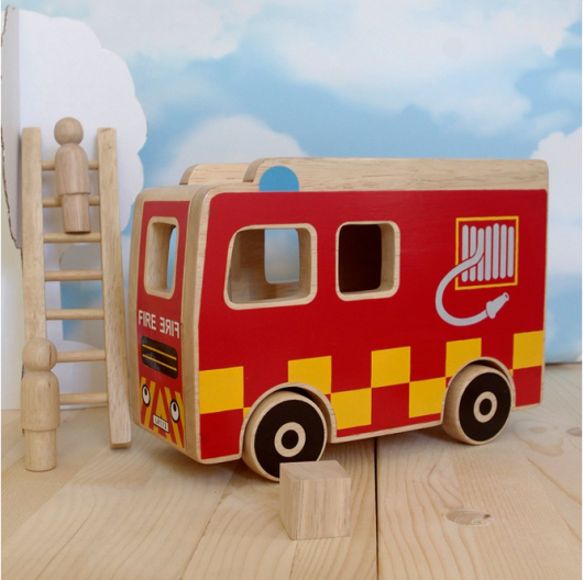 wooden fire engine play set