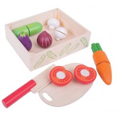 Chopping Veg Crate with Wooden Knife & Chopping Board