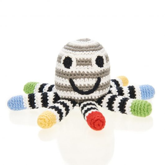 black and white octopus rattle