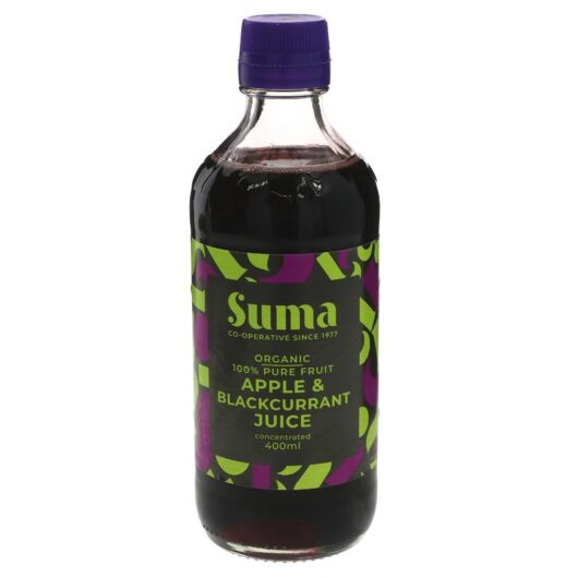 organic apple and blackcurrant concentrate juice
