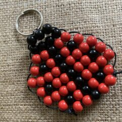 wooden beaded ladybird keyring