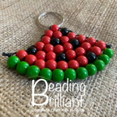 wooden beaded watermelon keyring