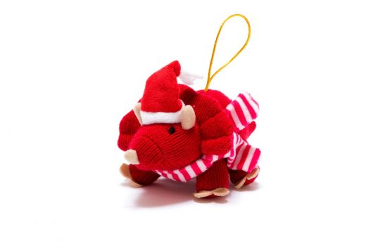 knitted christmas decoration soft toy triceratops