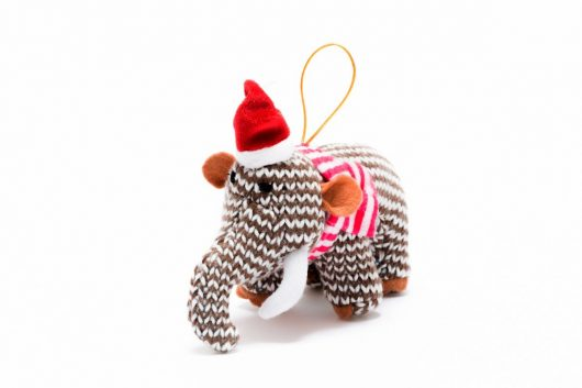 knitted christmas decoration soft toy woolly mammoth